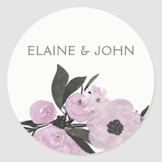 lila Watercolor Blumenfrühlings-Hochzeitsaufkleber Runder Aufkleber