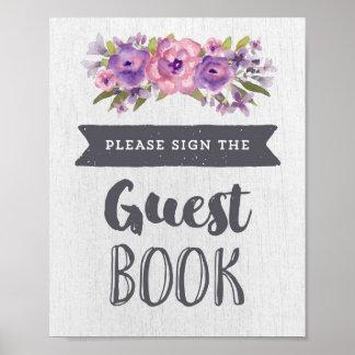Lila Watercolor-Blumengast-Buch-Hochzeits-Zeichen Poster
