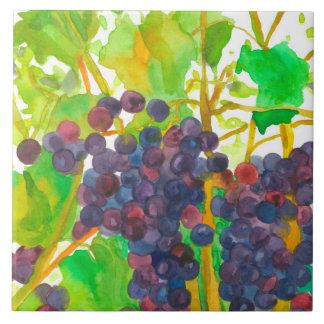 Lila Watercolor-Weintrauben Fliese