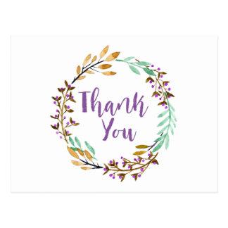 Lila WatercolorblumenWreath danken Ihnen Postkarte