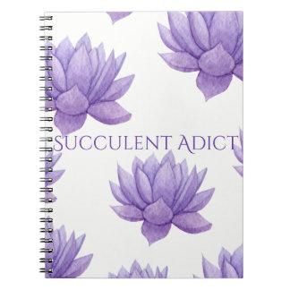 Lila Watercolorsucculent-Notizbuch Spiral Notizblock
