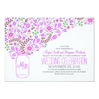 lila wedding Maurerglas-Blumen Karte
