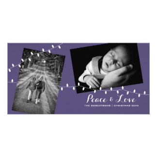 Lila WeihnachtsFoto-Postkarte - helle Karte