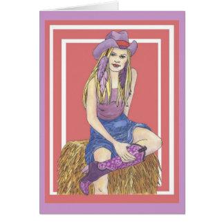 Lila weises Cowgirl Karte