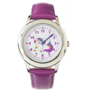 Lila Weiß des niedlichen Unicornrosas Armbanduhr