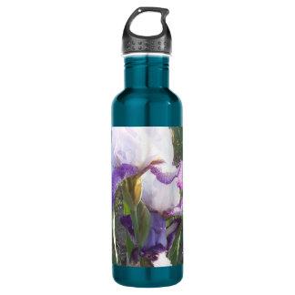 Lila/weiße Iris-rostfreier Stahl-Wasser-Flasche Edelstahlflasche