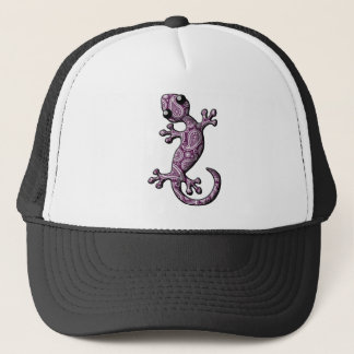 Lila weiße kletternde Gecko-Eidechse Truckerkappe