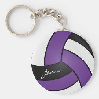 Lila, weißer und schwarzer Volleyball Schlüsselanhänger
