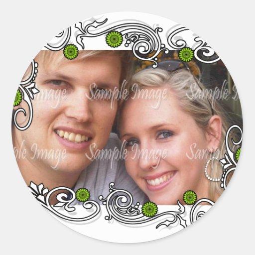 Lila weißes Gastgeschenk Hochzeits-Siegel Runde Sticker