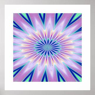 Lila weißes Kaleidoskop-Muster Poster