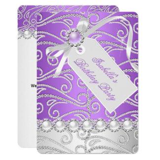 Lila weißes Perlen-Diamant-Geburtstags-Party 4 Karte