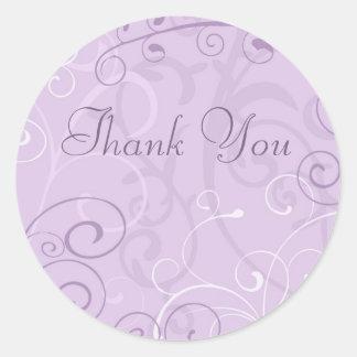 Lila Wirbel dankt Ihnen Umschlag Aufkleber