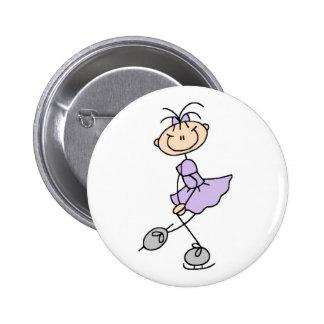 Lila Zahl Skater-Mädchen-Knopf Anstecknadelbutton