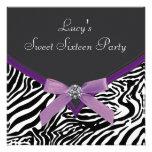 Lila Zebra-Geburtstags-Party Einladungskarte