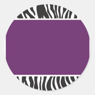 Lila Zebra laden ein Runder Aufkleber