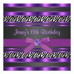 Lila Zebra-Mädchen-13. Geburtstags-Party Personalisierte Einladung