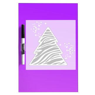 Lila Zebra-Weihnachtsbaum Trockenlöschtafel
