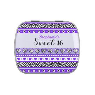 Lila Zebraherz Bonbon 16 Candytin Süßigkeitenbox