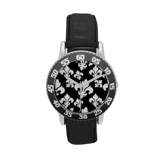 Lilie 4 Schwarzweiss Uhr