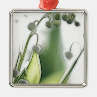 Lilie der Tal-Blumen-Wiederholungs-Skizze Silbernes Ornament