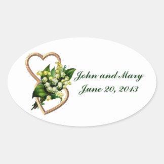 Lilie der Tal-Hochzeits-Erinnerungen Ovale Aufkleber