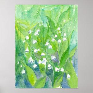 Lilie der Talwatercolor-Blumen Poster