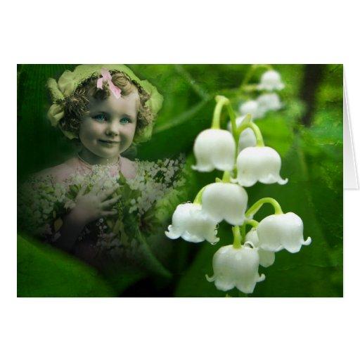 Lilie des Tal-süßen weißen Bell-Blumen-Blumenstrau Grußkarten