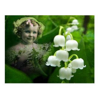 Lilie des Tal-süßen weißen Bell-Blumen-Blumenstrau Postkarten