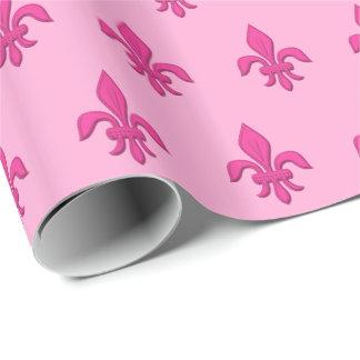 Lilie im pinkfarbenen Rosa auf hellrosa Geschenkpapier