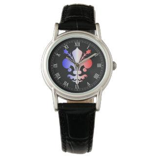 Lilie in rotem weißem und blau armbanduhr