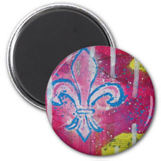 Lilie mit Magentarotem, Blau und Gelb Runder Magnet 5,1 Cm