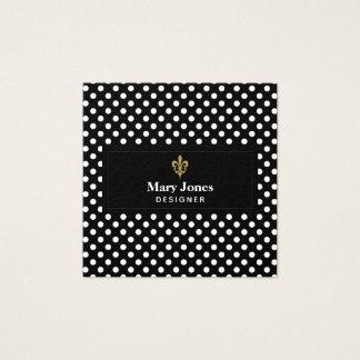 Lilien-Aufkleber mit weißen Polka-Punkten Quadratische Visitenkarte