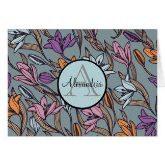 Lilien-Blumen-blaues mit Blumenmonogramm Karte