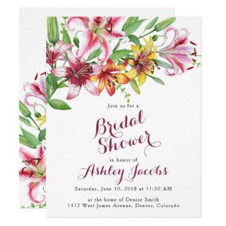 Lilien-Blumen-Blumenstrauß-Brautparty-Einladung Karte