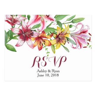 Lilien-Blumen-Blumenstrauß-Hochzeit UAWG Postkarte