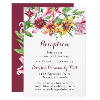 Lilien-Blumen-Blumenstrauß-Hochzeits-Empfang Karte