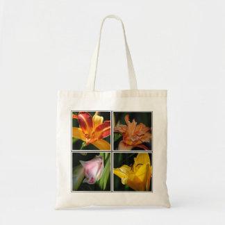 Lilien-Blumen-Collagen-Tasche Budget Stoffbeutel