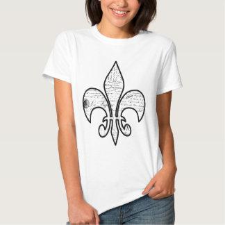 Lilien-französisches Skript fasst Paris ab T Shirt