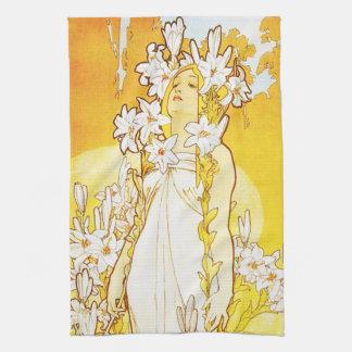 Lilien-Geschirrtuch Alphonse Mucha Handtuch