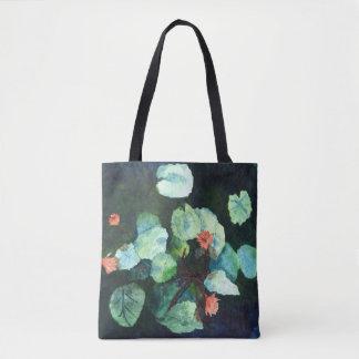 Lilien im Wasser - Blau, Pfirsich u. grüne Tasche