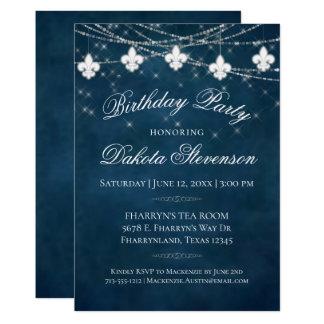 Lilien-Lichter des Indigo-Blau-Geburtstags-Party-  Karte