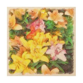 Lilien Liebe und LichtWatercolor Holzwanddeko