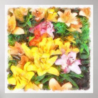 Lilien Liebe und LichtWatercolor Poster