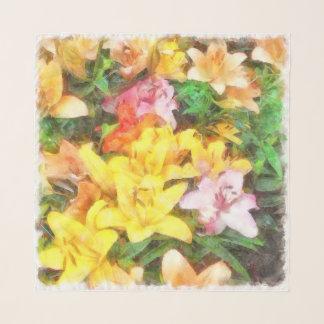 Lilien Liebe und LichtWatercolor Schal