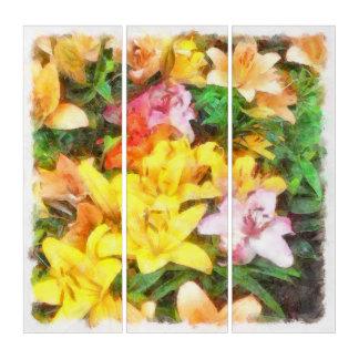 Lilien Liebe und LichtWatercolor Triptychon