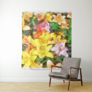 Lilien Liebe und LichtWatercolor Wandteppich