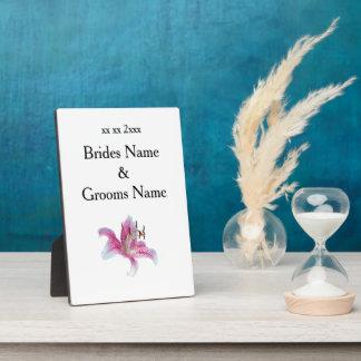 Lilien-moderne einfache elegante Hochzeits-Ideen Fotoplatte