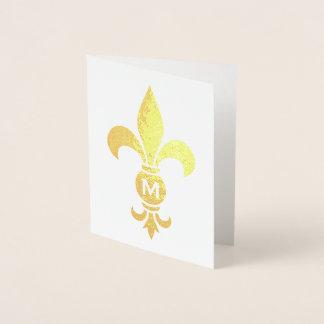 Lilien-Monogramm-elegante unbedeutende wirkliche Folienkarte