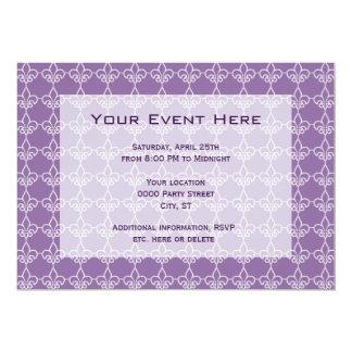 Lilien-Muster-Party Einladungs-lila Weiß 12,7 X 17,8 Cm Einladungskarte