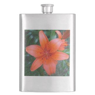 Lilien-orange gesprenkelte Blume Flachmann
